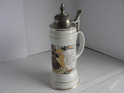 Porcelánový, pivní korbel Herzog Wilhelm 1493-1590