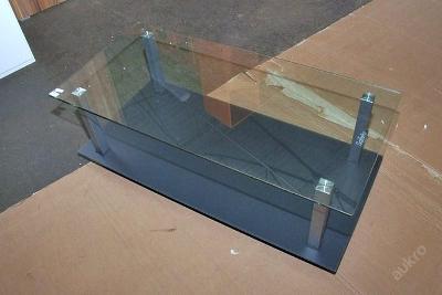 Konferenční stolek,dřevolaminát/kov/sklo (3199)