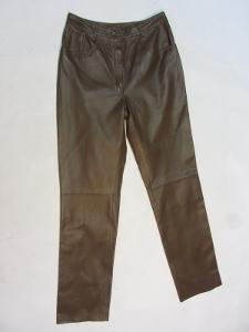 Kožené dámské hnědé kalhoty vel. 40 - pas: 74 cm
