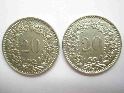 Švýcarsko 20 Rap 1934, 1936