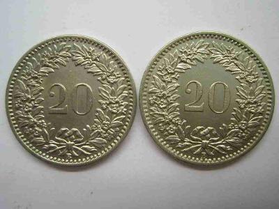 Švýcarsko 20 Rap 1908, 1909