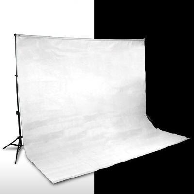 Petricard | 2x Fotografické pozadí 3x3 m bílé a černé, 100% bavlna