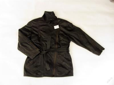 Kožená dámská hnědá delší bunda - křivák vel. 38 - natržená na zádech