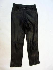 Kožená kalhoty - obvod pasu: 74 cm - (6096)