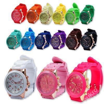 Stylové silikonové hodinky Geneva 15 barev