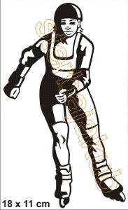 Samolepka  skica kolečkový bruslař 18 x 11 cm