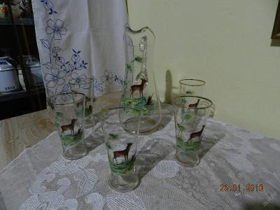 Krásná stará ručně malovaná souprava Džbán 5 sklenic Jelen Srna
