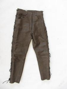 Kožené hnědé šněrovací kalhoty -  pas: 76 cm
