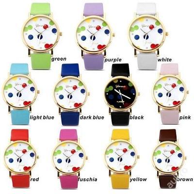 Módní hodinky Geneva svítící barevné tečky 11bar