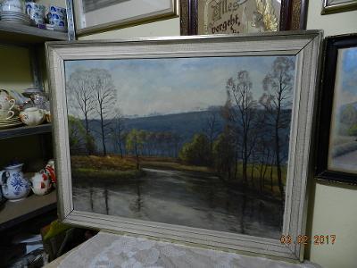 Hezký starý obraz olej na desce Krajina Řeka