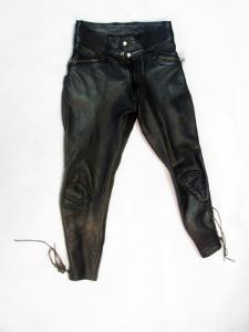 Kožené kalhoty - obvod pasu: 74 cm  - (8759)