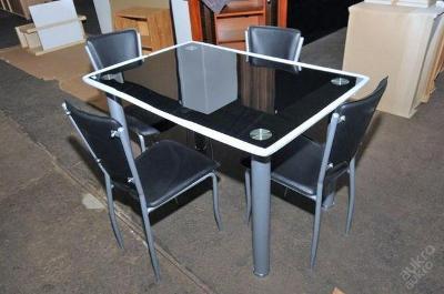 Jídelní stůl + 4 židle, sklo/kov/koženka (3464)
