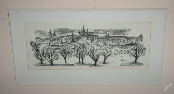 LINORYT - POHLED NA HRADČANY - ZDENĚK MARČÍK 1976 - Umění