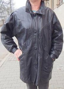Černý kožený krátký kabát-dlouhá bunda, vel.M