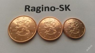 Finsko 2007 - Sada 1+2+5 Cent UNC