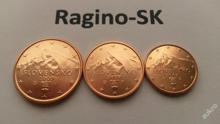 Slovensko 2009 - Sada 1+2+5 Cent UNC - Numismatika