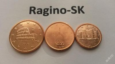 Itálie 2002 - Sada 1+2+5 Cent UNC