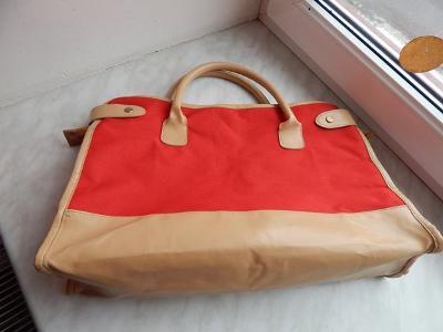 Velká červeno béžová kabelka