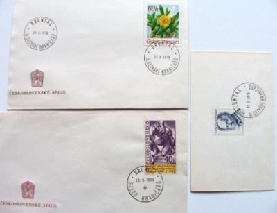 4 x razítko BRUNTÁL 1968 1970 SJEZD HRANIČÁŘů