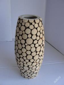 Starší váza na umělé květiny-obklad dřevo dekorace