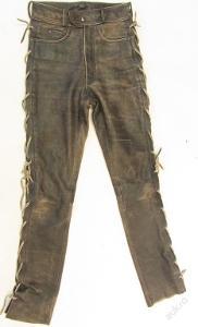 Kožené šněrovací kalhoty obvod pasu: 70 cm