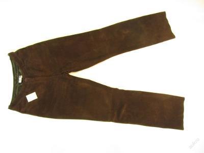 Kožené broušené hnědé kalhoty vel. 38 pas: 80 cm