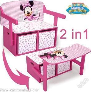Dětský Disney nábytek 3 v 1, lavice, stůl, boxy