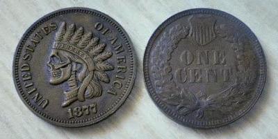 USA 1 cent 1877 Indián Lebka tulácký M-0177