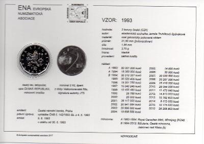 2 Kč 1993W XF (z oběhu) s kartou ENA (c) 2017