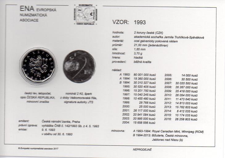 2 Kč 2009 XF (z oběhu) s kartou ENA (c) 2017 - Numismatika