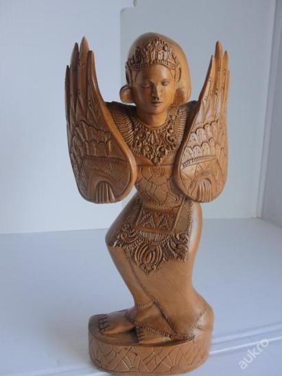Budha, vyřezávaná socha-Bali, teakové dřevo! - Zařízení