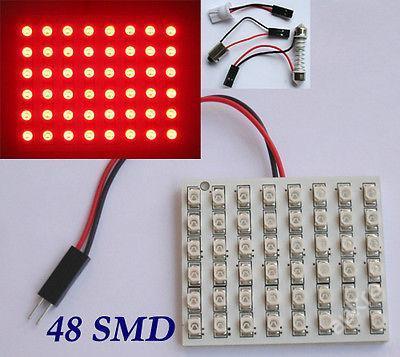 LED 48x ploché osvětlovací těleso12V červené+reduk