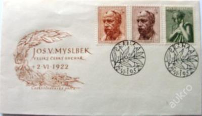 OBÁLKA 2 x razítko JOS. V.. MYSLBEK 1952 Hudba