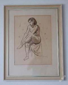Emil Zimmer 1954, akt akvarel originál
