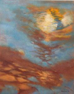 SVĚTLO V HORÁCH, orig. olej, abstrakce