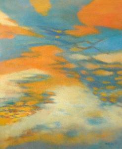 VRCHOLKY V OBLACÍCH, orig. olej, abstrakce