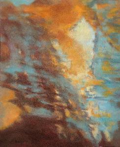 BOUŘE V HORÁCH, orig. olej, abstrakce