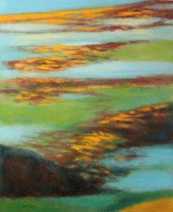 PODZIMNÍ POLE V MLZE, orig. olej, abstrakce