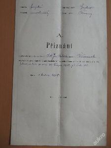 Přiznání  o příjmech spojených s úřadem 1918