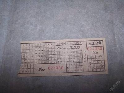 JÍZDENKA ČSAD Xo 024080 2.20 Kčs /n16/