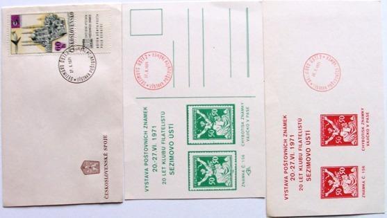 3 x VAJÍČKO V PASE VÝSTAVA Sezimovo Ústí 1971 - Filatelie