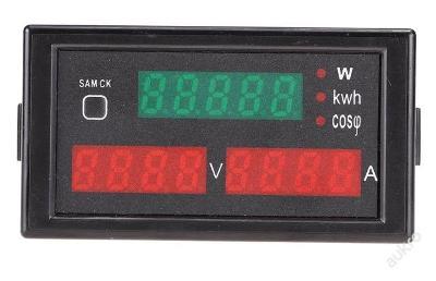 Voltmetr + ampérmetr + výkon 3v1  80-300V / 0-100A