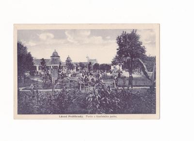 Lázně  Poděbrady - partie z lázeňského parku 1932