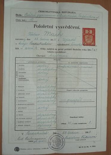 Pololetní vysvědčení 1949 - dokument