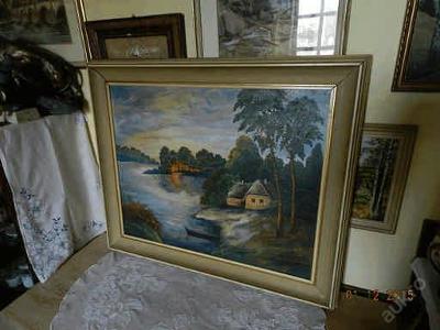Hezký obří obraz Zátoka - olej plátno - F. Němcová