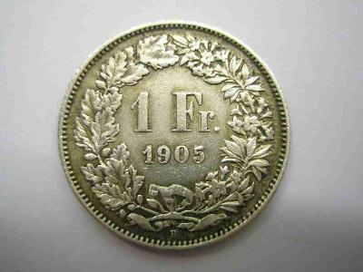 Švýcarsko 1 frank 1905