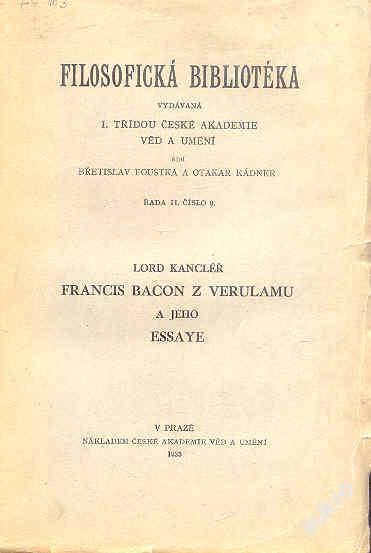 Lord kancléř Francis Bacon z Verulamu a jeho Essay