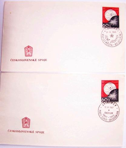 2 x razítko JÁCHYMOV LÁZNĚ radium CURIE SKLODOWSKA - Filatelie