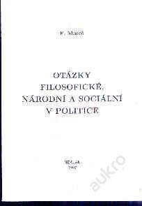 F.Mareš -Otázky filosofické, národní a  sociální v