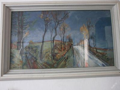 Starý velký obraz krajiny-Oldřich Karel